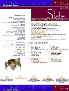 Slate's home page on February 19, 1997, shown at 50 percent of full size