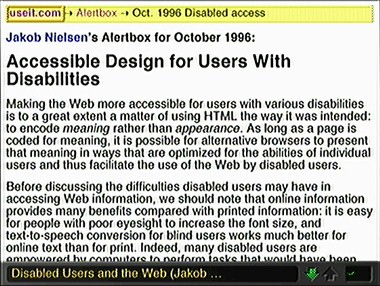 Screenshot of the same Web page displayed on WebTV