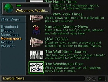 WebTV connecting to Washington Post server