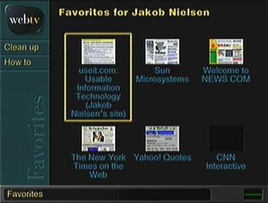 WebTV uses miniature homepage to visualize bookmarks