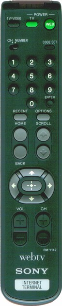 WebTV remote control with specialized buttons for Web browsing, including 'back' and 'home'