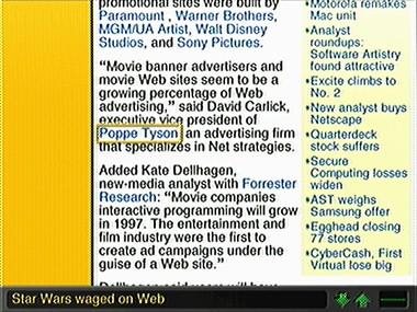 The three-column layout from news.com looks bad on WebTV