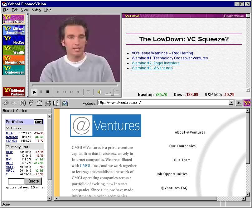Yahoo FinanceVisionアプリケーションウィンドウのスクリーンショット