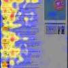 ニュースレターを使った視線追跡調査の結果を示すヒートマップ