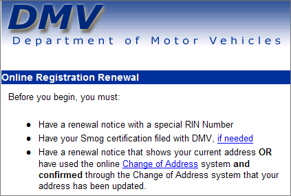 Excerpt from renewal section on DMV website. The first bullet says that you must have a renewal notice with a special RIN Number.