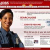 The top of the homepage for USA Jobs. The screen is dominated by a huge photo of a police officer.