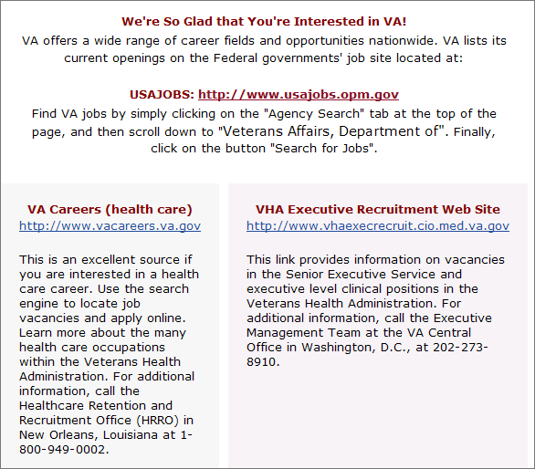 Veterans Affairs job page with three links: USA jobs, VA Careers, and VHA Executive Recruitment