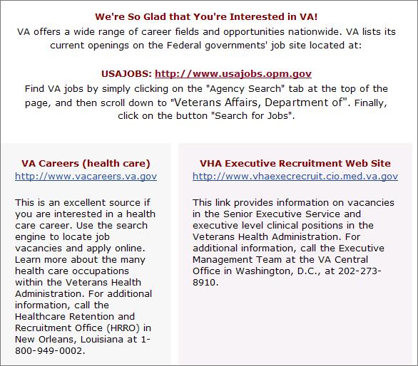 Veterans Affairs job page with three links: USA jobs, VA Careers, and VHA Executive Recruitment