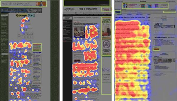 アイトラッキング調査の結果を示す3枚のヒートマップ。ユーザの視線がページのどこに注がれていたかを表す。