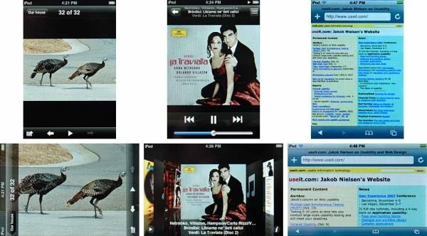 iPod Touchのスクリーンショット: 上段がデバイスを縦に持って見た画面、下段がデバイスを横にした時に回転して表示される画面