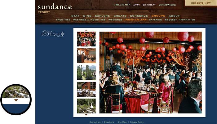 Sundance Resortのグループイベント情報ページのスクリーンショット。各リゾートで行われたイベントの写真一覧を表示している。