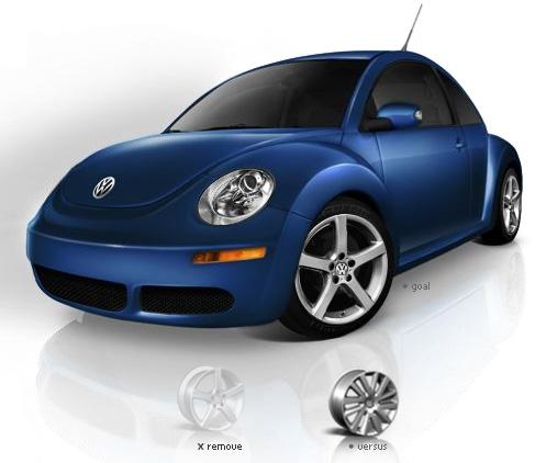 VWのコンフィギュレータ画面の一部のスクリーンショット。ユーザがホイールを選択するステップを示している。