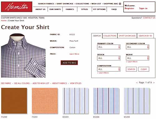 Hamiltonでシャツをデザインするときに使うアプリケーションの最初のステップをキャプチャした画面(上部のみ)