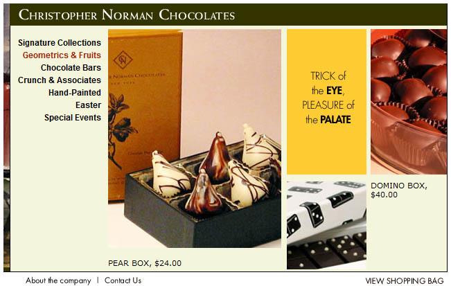Christopher Norman Chocolates のカテゴリーページ(本当の意味でのカテゴリーページへ遷移する前のスプラッシュページと言った方が正確かもしれない)のスクリーンショット