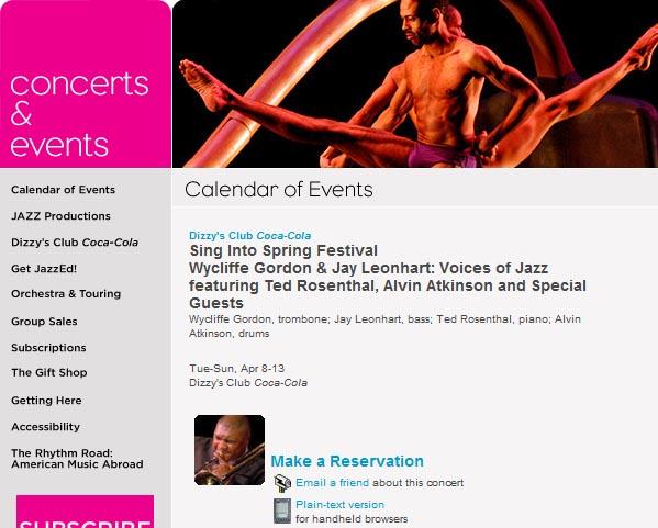 Lincoln Centerで催されているジャズコンサートに関するページのスクリーンショット