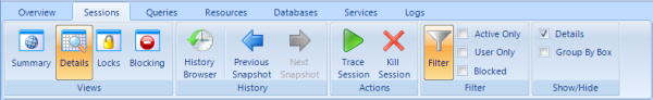 Microsoft Office 2007-SQL Diagnostic Manager アプリケーションユーザーインターフェイス スタイルリボンバー(統合されたメニューとツールバー)