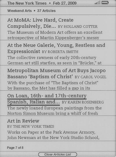 Kindle 2 で表示したニューヨークタイムズ紙の芸術欄の目次のスクリーンショット
