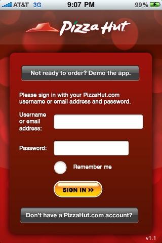 Pizza Hutのピザ注文iPhoneアプリのようこそ画面