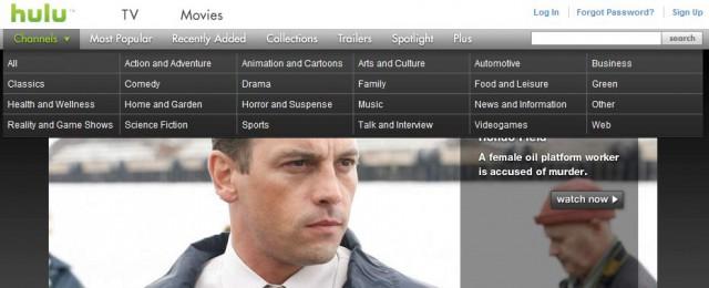 Hulu.com上のメガメニュー