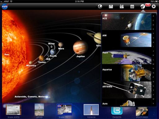 NASAのiPadアプリ: ドロップダウンメニューが開かれた状態のホーム画面。