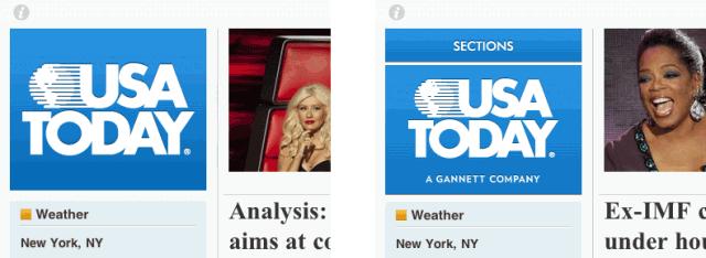USA Todayのセクションのナビゲーション