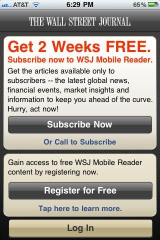 WSJのiPhoneアプリ:スタートアップ画面