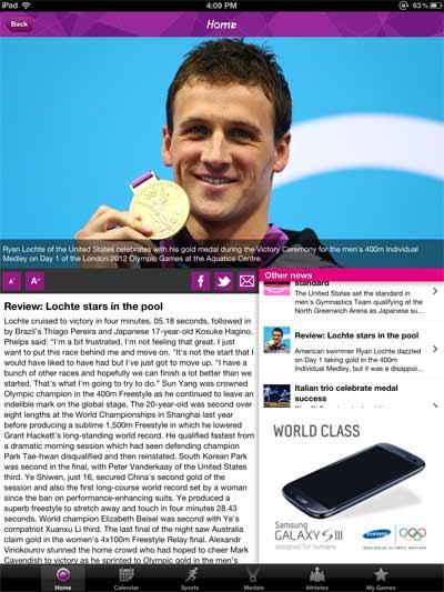 公式オリンピック競技結果iPadアプリの、記事画面のスクリーンショット