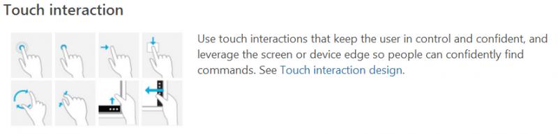 Windows 8 のジェスチャー一覧