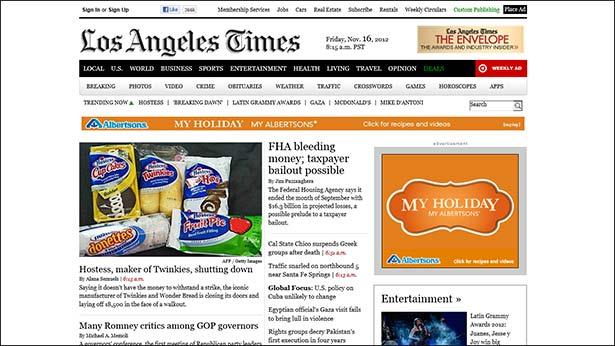 タブレットモードブラウザでのwww.latimes.com。