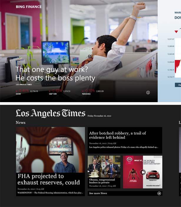 Bingファイナンス(上)とLos Angeles Times(下)のSurfaceタブレット用アプリのスタート画面。