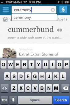 Dictionaryアプリで「ceremony」まで入力したときの画面