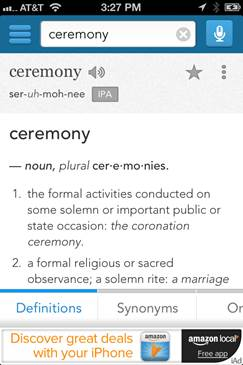 「ceremony」という単語の検索結果ページ