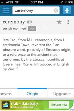 「ceremony」のorigin(:由来)が表示された画面