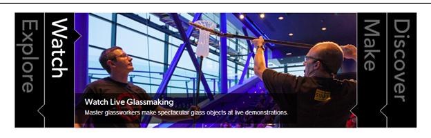 """Corning Museum of Glassのホームページ。""""Watch""""の枠が開いた状態。"""