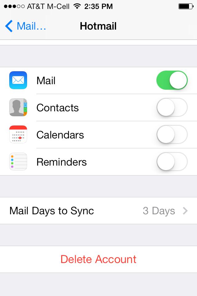 iOS 7の設定アプリ内の、メールの画面