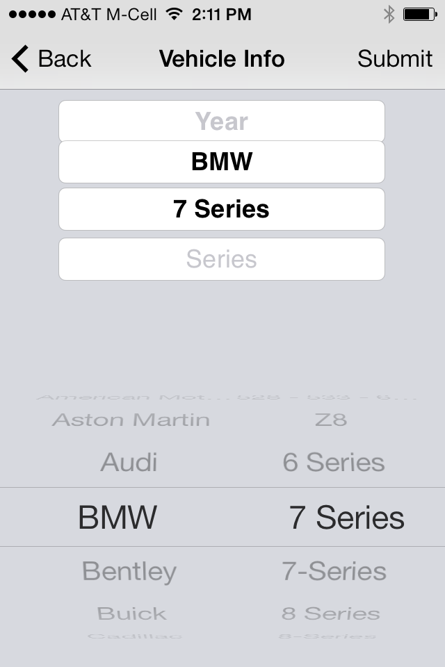 iPhone用のMobile Inspectで利用されている、iOS 7のピッカー