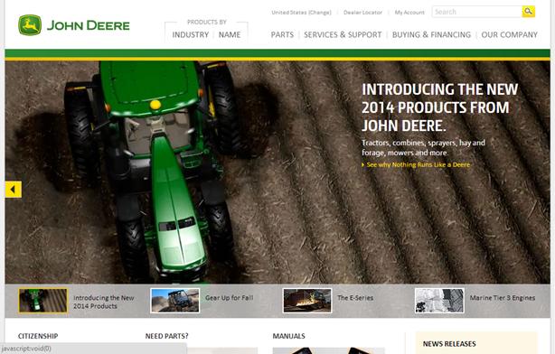John Deereのホームページ。カルーセルの、1つめの枠が表示された状態。