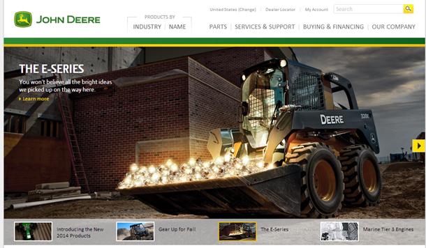 John Deereのホームページ。カルーセルの、3つめの枠が表示された状態。