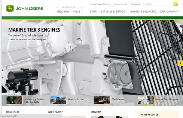 John Deereのホームページ。カルーセルの、4つめの枠が表示された状態。