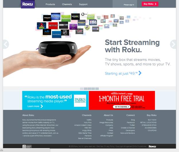 RokuのWebサイト。カルーセル枠内の背景が明るい場合。