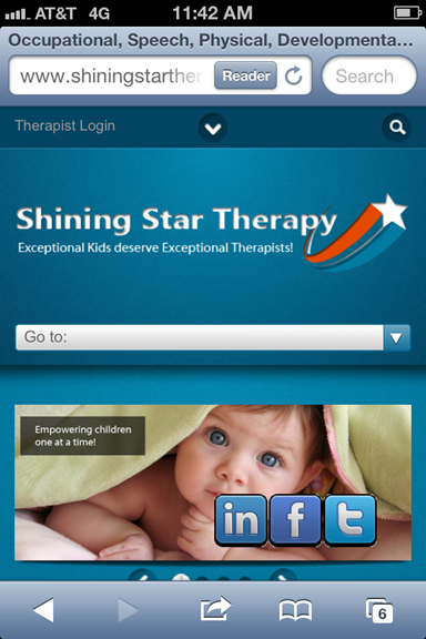 iPhoneで見た、Shining Star Therapyのサイト
