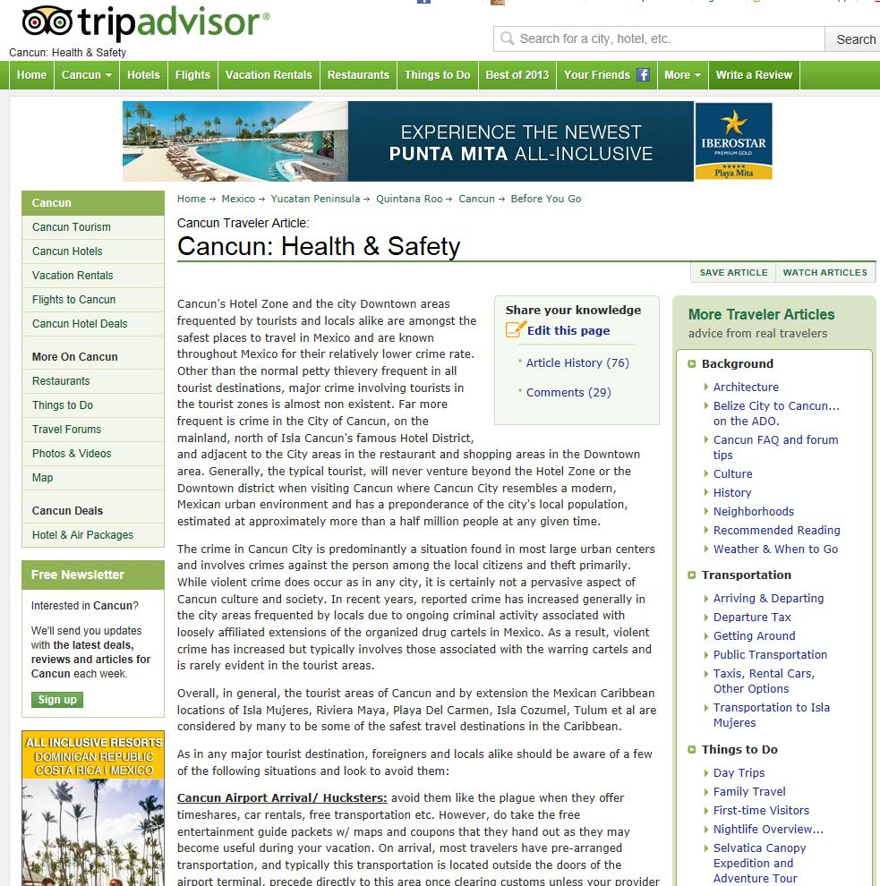 Tripadvisor.com: ここでは右カラムが有効に使われている。情報は記事への関連性が高く、視覚的な表現からはコンテンツが有益で、安売りの情報を押しつけるものではないことが伝わる。