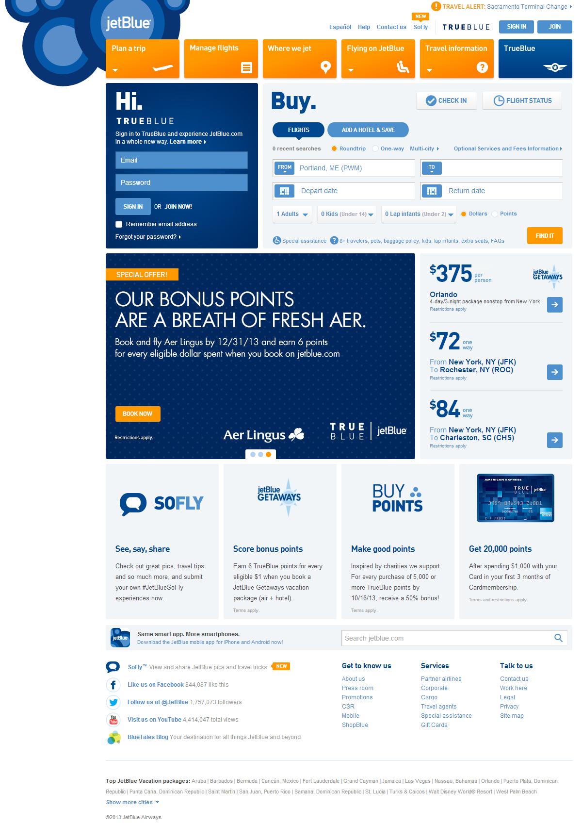 JetBlueのWebサイトのビジュアルデザインと口調には遊び心がある。また、よく行われるタスクへのアクセスも容易である。
