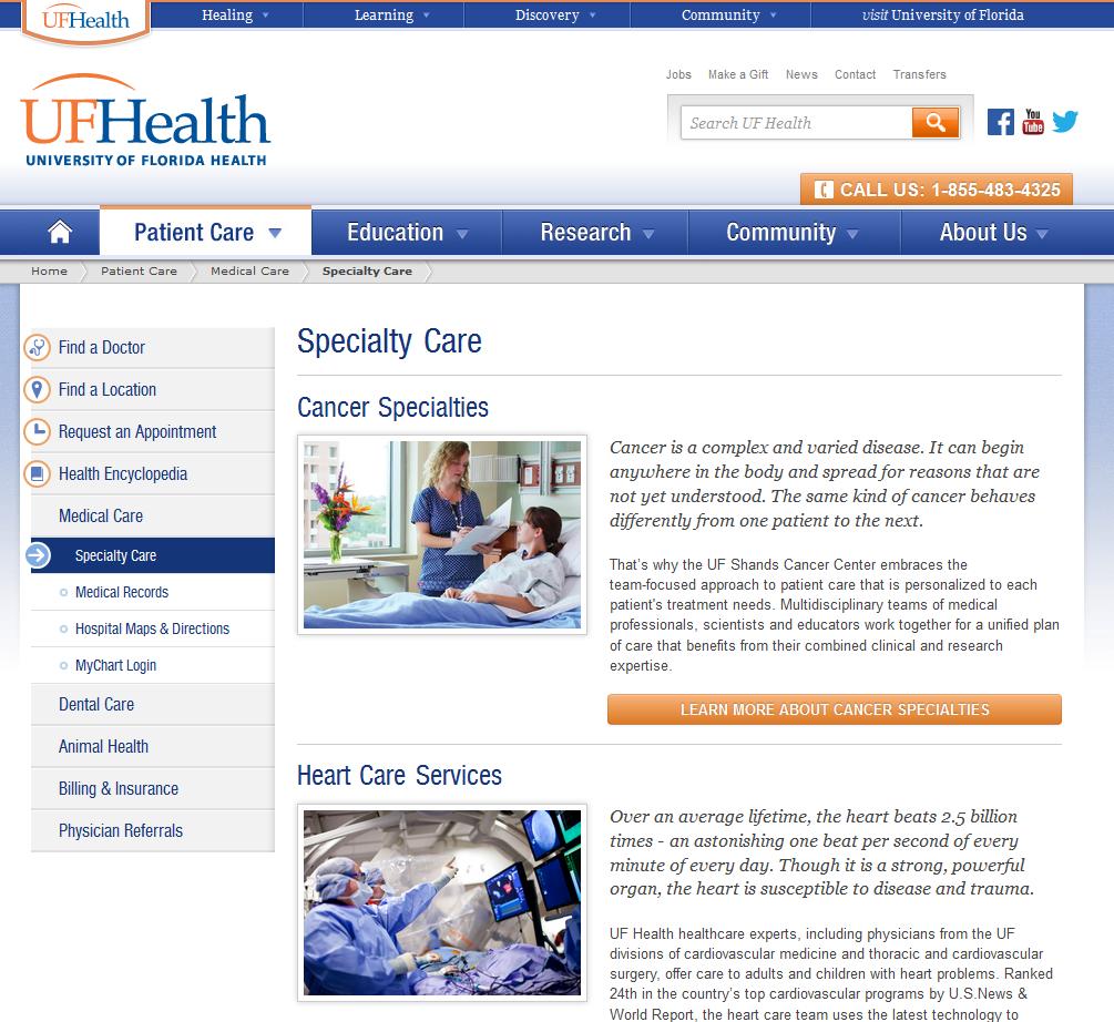 深い階層構造: UF HealthのWebサイトで疾病ごとの情報が表示されるのは、Home > Patient Care > Medical Care > Specialty Careと、トップページから3レベル下がったところである。