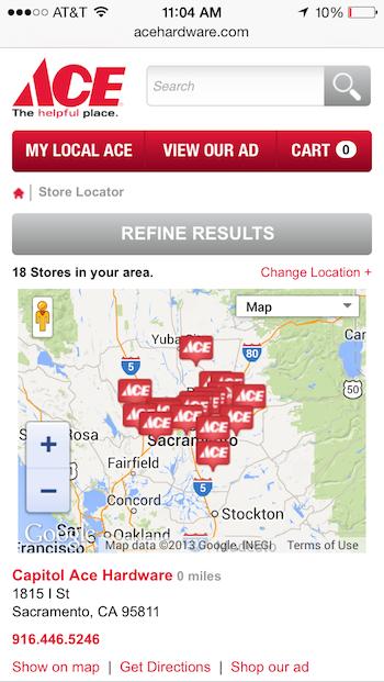 Ace Hardwareのモバイルサイト: 店舗検索の結果ページで重なり合って表示されている地図マーカーは小さすぎる上に密集していて、太い指では正確に選べない。