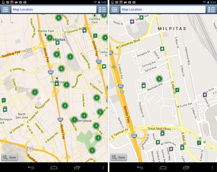 RedfinのAndroidアプリ: ある住宅を検索すると地図が出てきて、そこに位置している住宅の合算された数が表示される。数字をタップするとそのエリアは拡大されるが、ユーザーが目にするのが、家のアイコンとまた出てくる数字アイコンという紛らわしい組み合わせになる可能性もある。