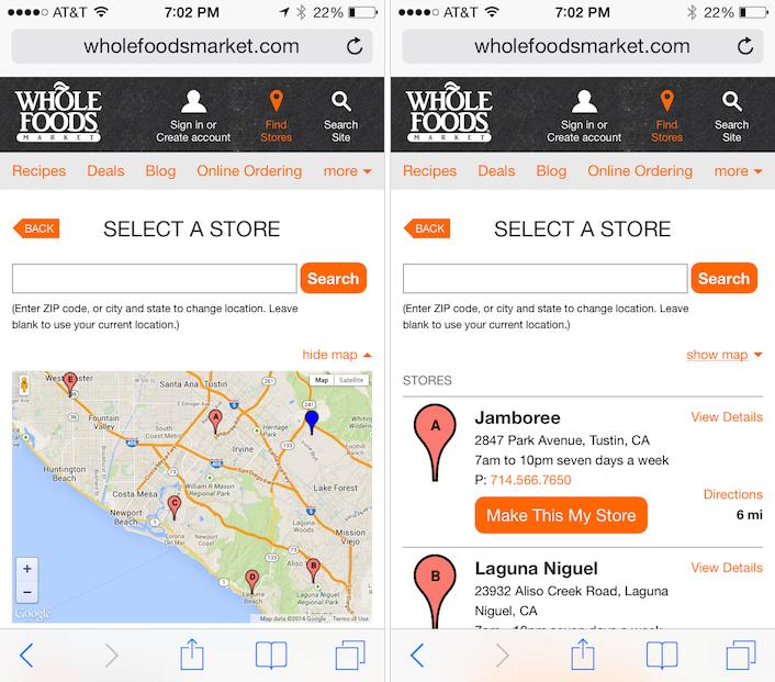 Whole FoodsのモバイルWebサイト: 店舗検索の結果ページに地図を隠すためのリンクが提示され、地図表示に興味のないユーザーがリスト表示に行きやすいようになっている。