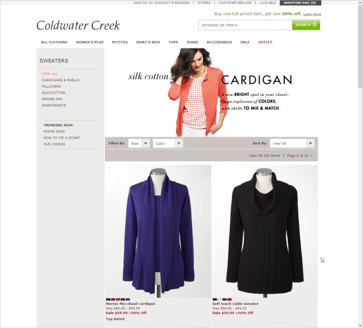 たとえば、Coldwater Creekのカテゴリーページのように、多くのサイトでは商品画像が大きくなり、買い物客が商品の詳細を見やすくなった。