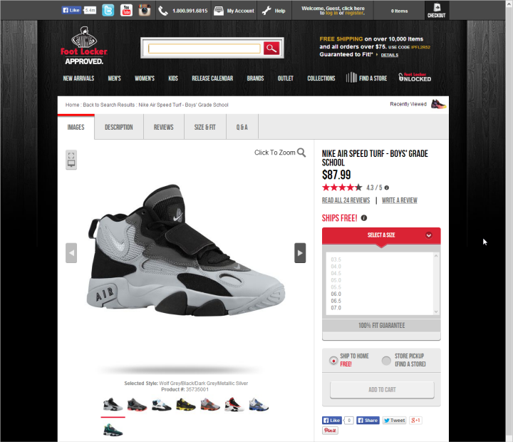 Foot Lockerのサイトの商品ページには十分な余白があり、大きな画像と大きめのテキストが使われていた。