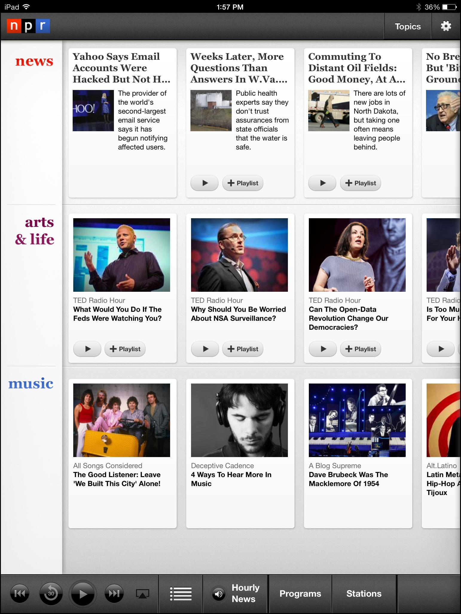 NPRのiPad アプリはリラックスして、あるいは暇つぶしに、くつろいで記事を眺めたい人向けにデザインされている。